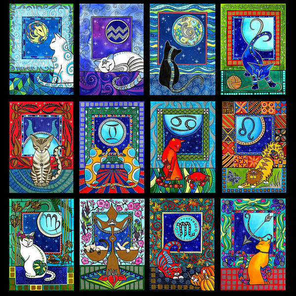 Astrology Cat Zodiacs Art Print