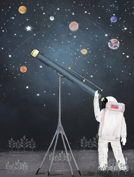 Wall Art - Painting - Astronaut Astrology  by Bri Buckley