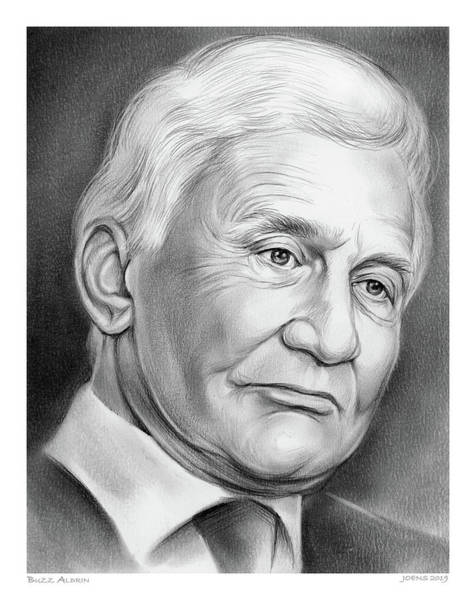 Nasa Wall Art - Drawing - Astronaut Buzz Aldrin by Greg Joens
