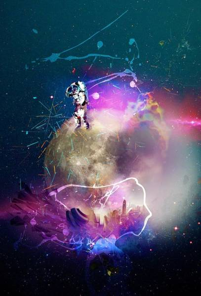 Courage Digital Art - Astronaut Fantasy by ArtMarketJapan
