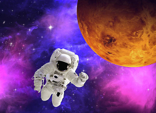 Digital Art - Astronaut In Outer Space 01 by Matthias Hauser