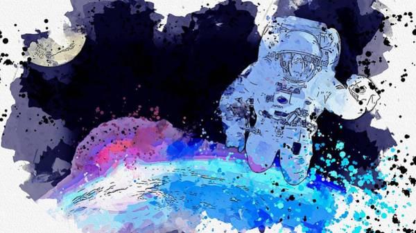 Wall Art - Painting - Astronaut Selfie -  Watercolor By Ahmet Asar by Ahmet Asar