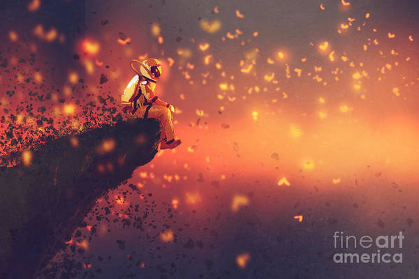 Wall Art - Digital Art - Astronaut Sitting On Cliffs Edge And by Tithi Luadthong