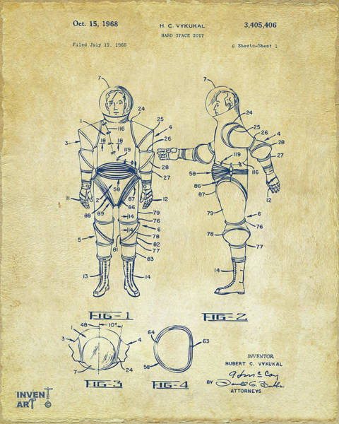 Wall Art - Digital Art - Astronaut Space Suit Patent 1968 - Vintage by Nikki Marie Smith