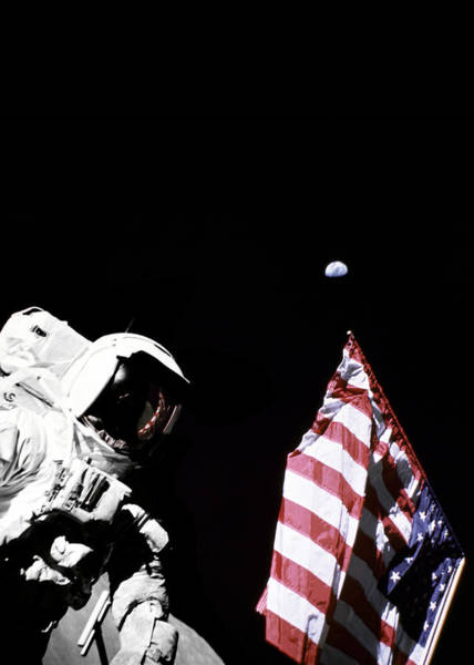 Wall Art - Digital Art - Astronaut With American Flag On The Moon by Filip Hellman