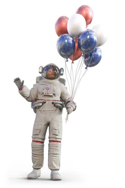 Wall Art - Digital Art - Astronaut With Happy Balloons  by Betsy Knapp