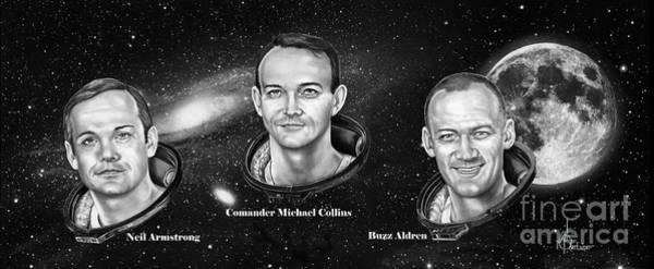 Cosmos Drawing - Astronauts Three by Murphy Elliott