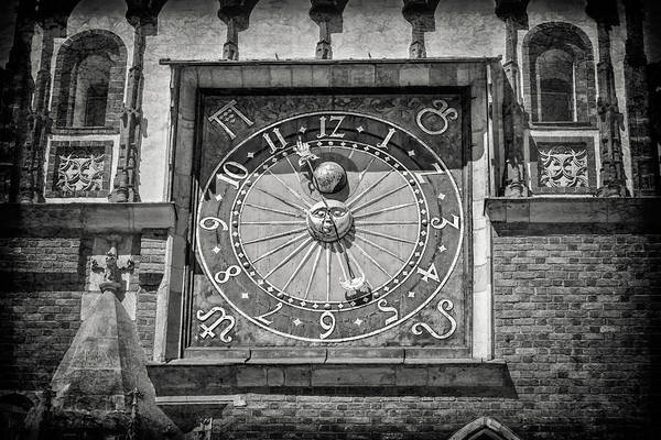 Wall Art - Photograph - Astronomical Clock Wroclaw Town Hall Poland In Black And White by Carol Japp