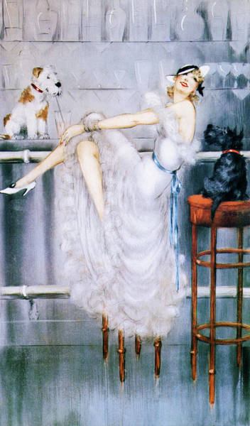 Wall Art - Painting - At Bar - Digital Remastered Edition by Louis Icart