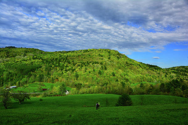 Photograph - At Hikers Descend To A Farm In Vt by Raymond Salani III