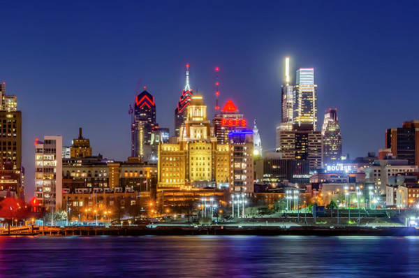 Photograph - At Night On The Waterfront - Philadelphia by Bill Cannon