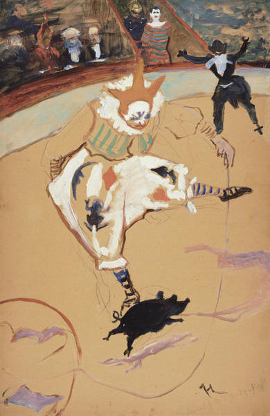 Wall Art - Painting - At The Circus Fernando - Medrano With A Piglet by Henri de Toulouse-Lautrec