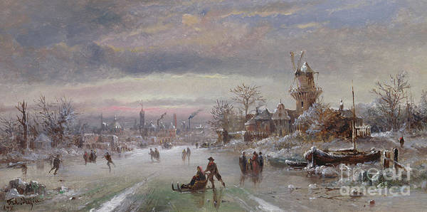 Figure Skater Painting - At The Close Of Day, 1898 by Felice A Rezia