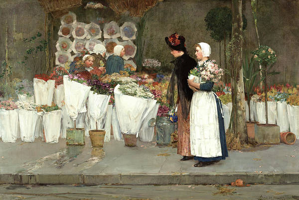 Wall Art - Painting - At The Florist, 1889 by Childe Hassam