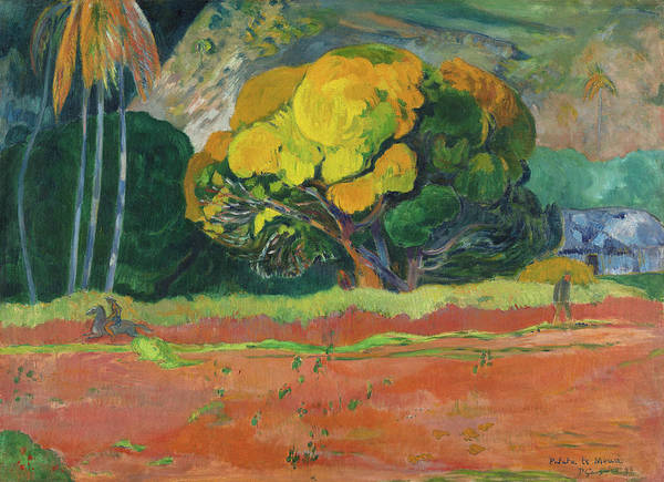 Gauguin Painting - At The Foot Of A Mountain, 1892 by Paul Gauguin