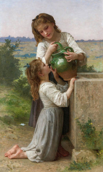 Wall Art - Painting - At The Fountain, 19th Century by William-Adolphe Bouguereau