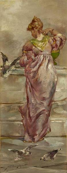 Wall Art - Painting - At The Fountain By Walter Shirlaw by Walter Shirlaw