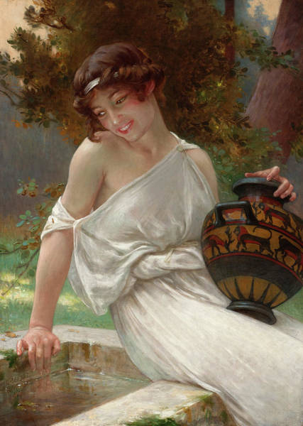 Seductive Painting - At The Fountain by Guillaume Seignac