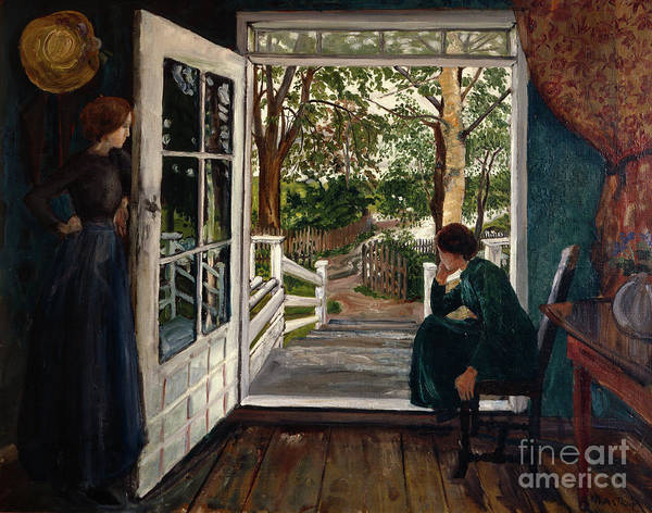 Nikolai Astrup Painting - At The Gardenroom Door by O Vaering