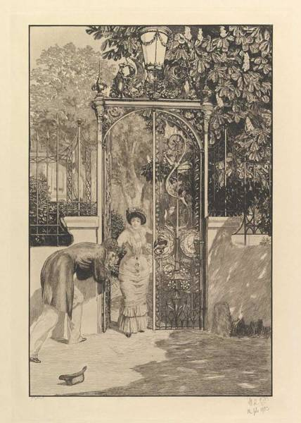 Wall Art - Painting - At The Gate  From The Series A Love  By Max Klinger by Max Klinger