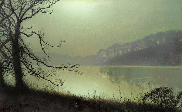 Lone Tree Painting - At The Lakeside, Moonlight by John Atkinson Grimshaw
