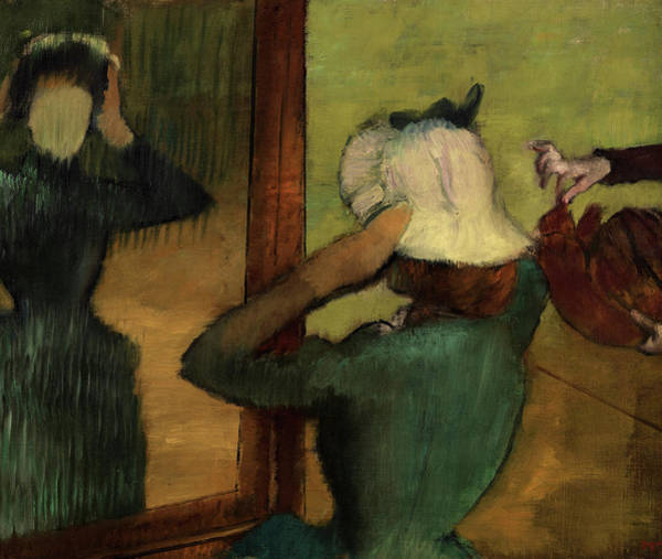 Wall Art - Painting - At The Milliner, 1885 by Edgar Degas