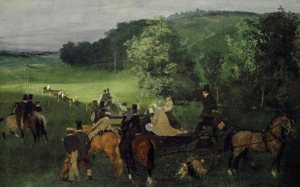 Wall Art - Painting - At The Racecourse by Edgar Degas