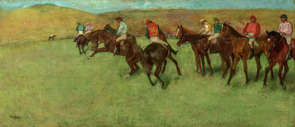 Wall Art - Painting - At The Races, Before The Start, 1885 by Edgar Degas