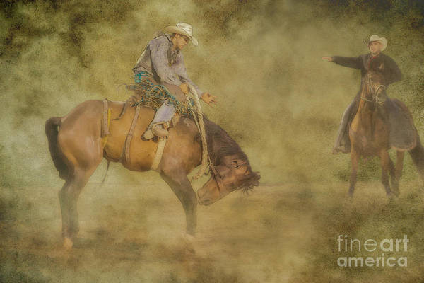 Bucking Bronco Digital Art - At The Rodeo Bronco Riding by Randy Steele