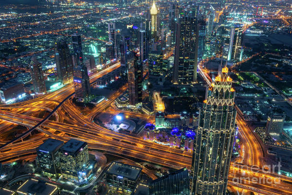 Wall Art - Photograph - At The Top Of Dubai At Night by Delphimages Photo Creations