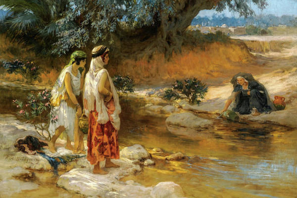 Wall Art - Painting - At The Water's Edge, 19th Century by Frederick Arthur Bridgman