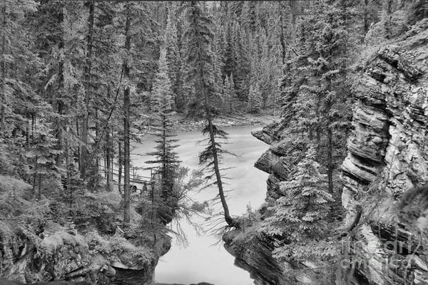 Photograph - Athabasca River Canyon Black And White by Adam Jewell