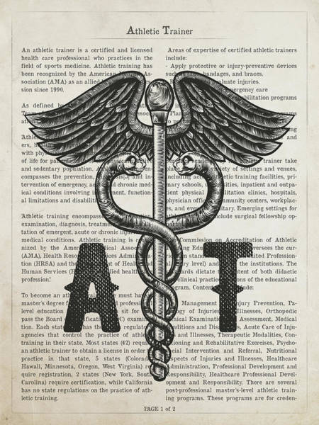 Wall Art - Digital Art - Athletic Trainer Gift Idea With Caduceus Illustration 01 by Aged Pixel