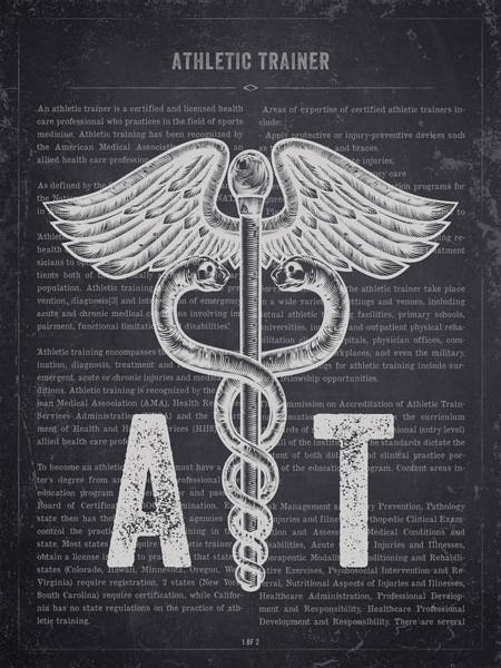 Wall Art - Digital Art - Athletic Trainer Gift Idea With Caduceus Illustration 02 by Aged Pixel