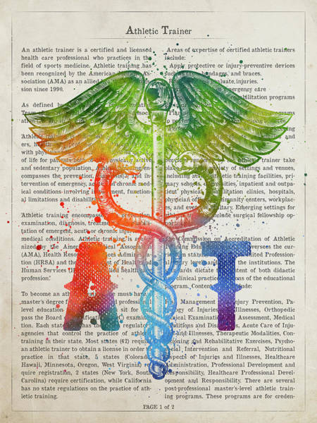 Wall Art - Digital Art - Athletic Trainer Gift Idea With Caduceus Illustration 03 by Aged Pixel