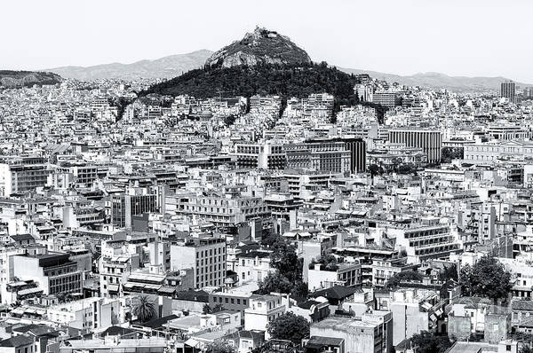 Photograph - Athens City View Greece Monochrome by John Rizzuto