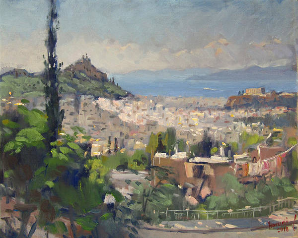 Greece Painting - Athens View From Galatsi by Ylli Haruni