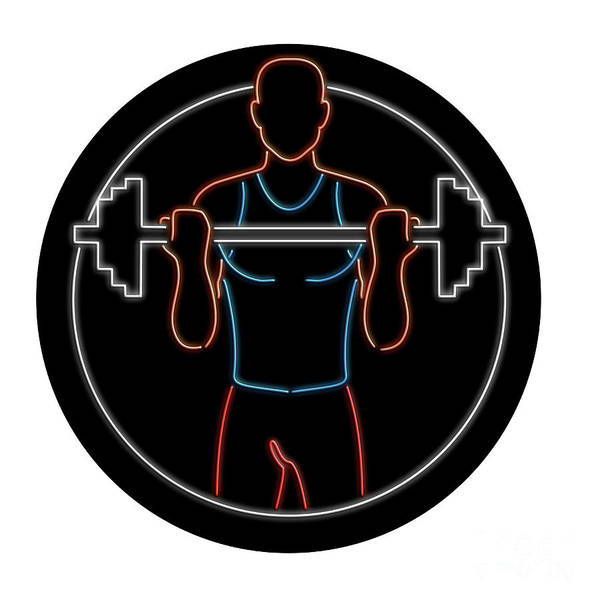 Wall Art - Digital Art - Athlete Lifting Barbell Oval Neon Sign by Aloysius Patrimonio