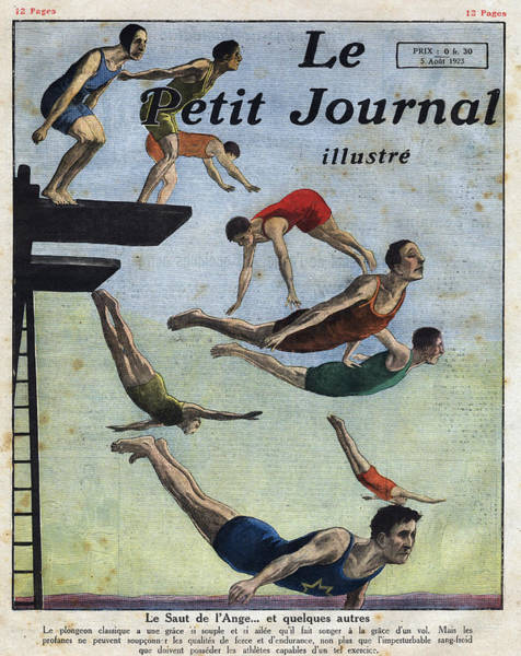1923 Digital Art - Athletes Diving From A Platform by Leemage