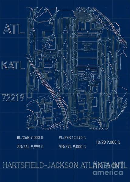 Digital Art - Atl Atlanta Airport Blueprint by Helge