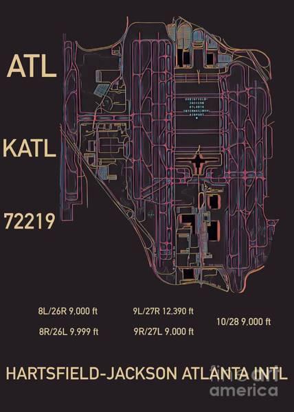 Digital Art - Atl Atlanta Airport by Helge