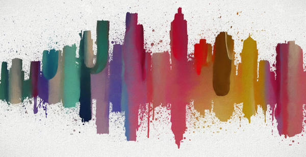 Wall Art - Painting - Atlanta Colorful Skyline  by Dan Sproul