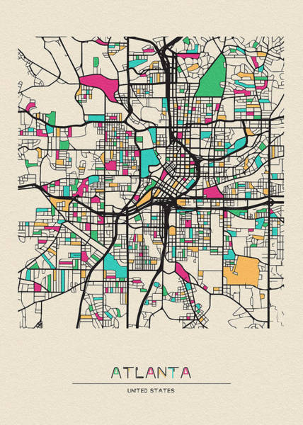 Wall Art - Digital Art - Atlanta, Georgia City Map by Inspirowl Design