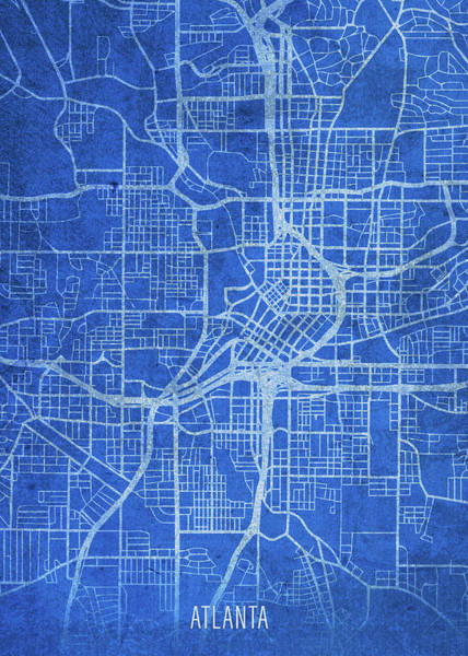 Wall Art - Mixed Media - Atlanta Georgia City Street Map Blueprints by Design Turnpike
