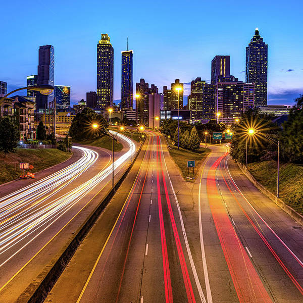 Photograph - Atlanta Georgia Evening Skyline And Architecture by Gregory Ballos