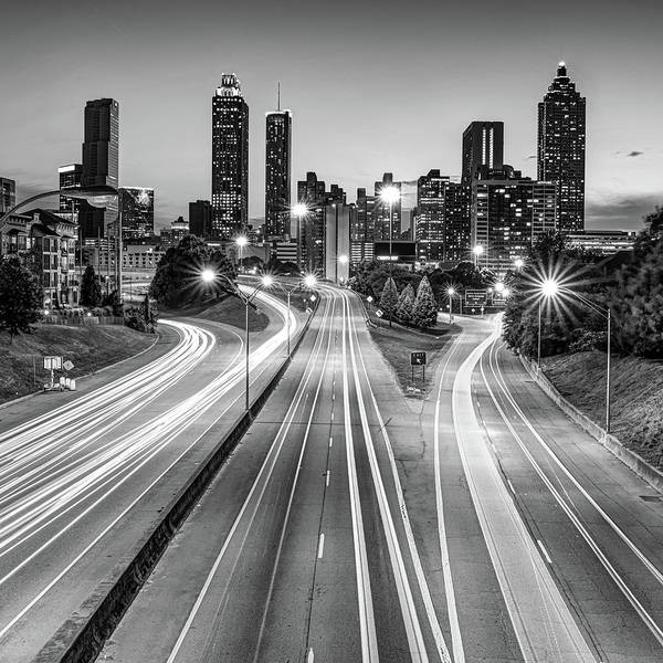 Photograph - Atlanta Georgia Monochrome Skyline And Architecture by Gregory Ballos