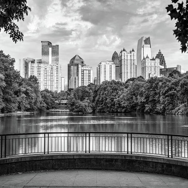 Wall Art - Photograph - Atlanta Georgia Piedmont Park Skyline - Square Monochrome 1x1 by Gregory Ballos