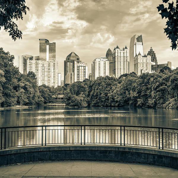 Photograph - Atlanta Georgia Piedmont Park Skyline - Square Sepia 1x1 by Gregory Ballos