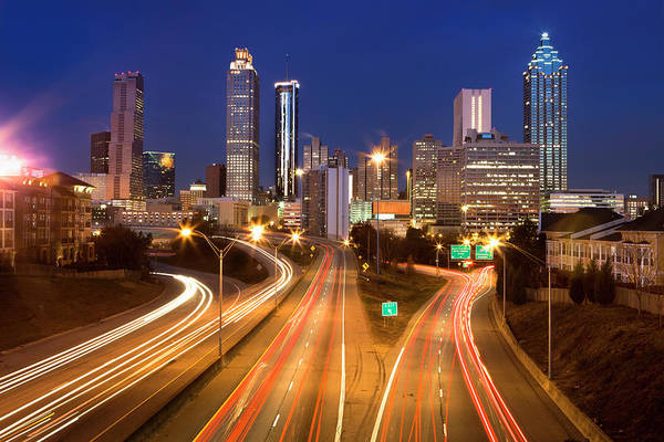 Georgia Photograph - Atlanta Georgia Usa Night Time Skyline by Paul Giamou