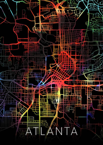 Wall Art - Mixed Media - Atlanta Georgia Watercolor City Street Map Dark Mode by Design Turnpike